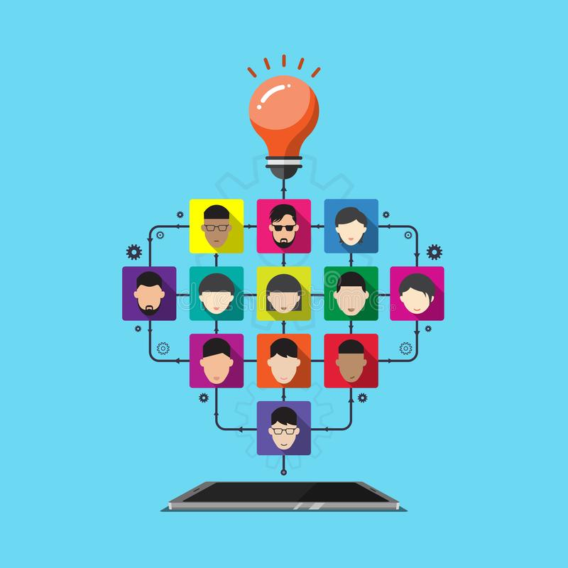 Wektorowa telefon komórkowy praca zespołowa kreatywnie, avatar ogólnospołeczny medialny związek royalty ilustracja