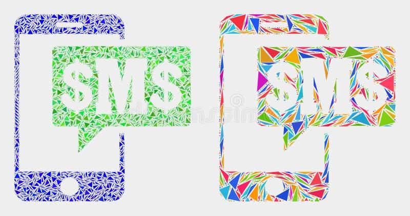 Wektorowa telefonu Sms chmury mozaiki ikona trójboki royalty ilustracja