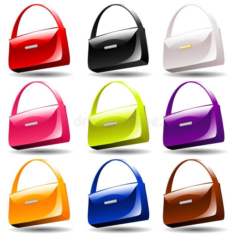 Wektorowa torebka w 9 kolorach ilustracji