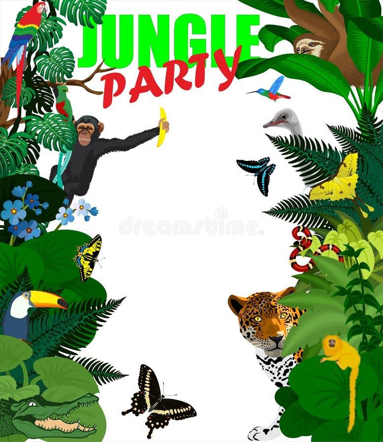 Wektorowa tropikalna karta z dżungli zwierzętami Dżungla tropikalnego lasu deszczowego dżungli stylowa ilustracja royalty ilustracja