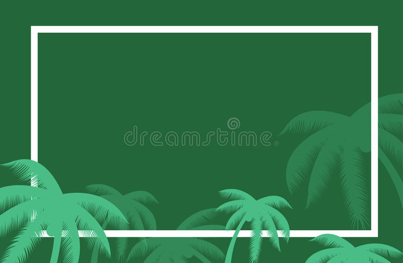 Wektorowa tropikalna palmowego liścia granica Lata drzewka palmowego liście wokoło granicy tła Halloween teksta wektor Sztandarów ilustracji