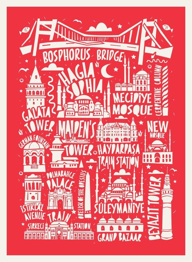Wektorowa turystyczna ręka rysujący Istanbul miasta plakat ilustracji