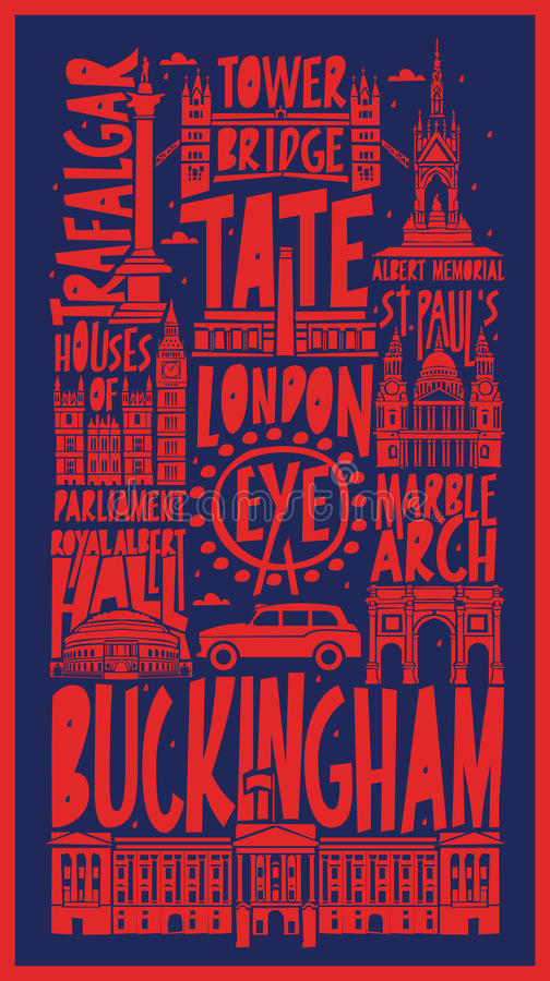 Wektorowa turystyczna ręka rysujący London miasta plakat ilustracja wektor