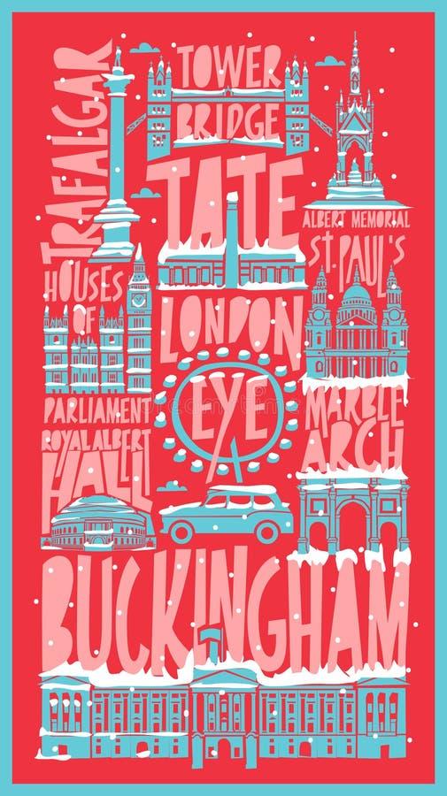 Wektorowa turystyczna ręka rysujący London miasta plakat ilustracji