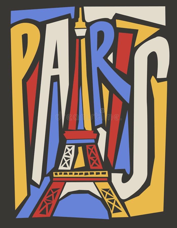 Wektorowa turystyczna ręka rysujący Paris miasta plakat ilustracji
