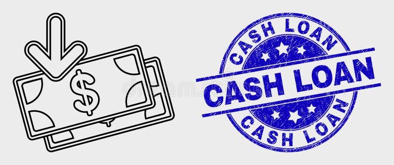 Wektorowa uderzenie dochodu banknotów ikony i cierpienie Gotówkowej pożyczki znaczka foka ilustracji