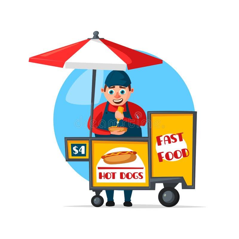 Wektorowa uliczna fasta food sprzedawcy budka fura ilustracja wektor