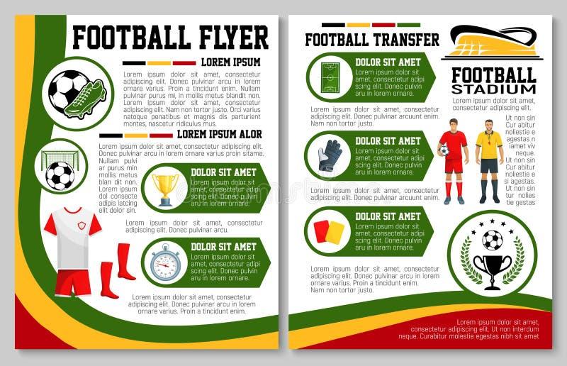 Wektorowa ulotka dla futbolu lub piłki nożnej sporta dopasowania ilustracji