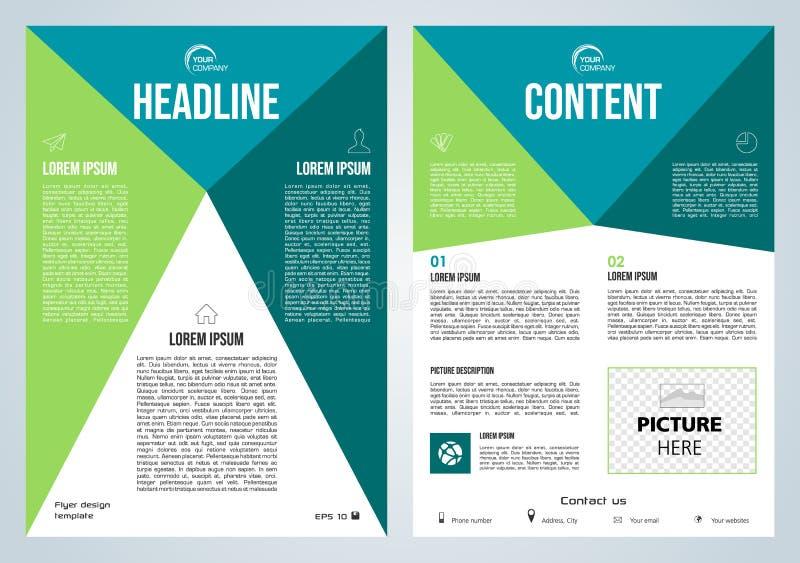 Wektorowa ulotka, korporacyjny biznes, sprawozdanie roczne, broszurka projekt i pokrywy prezentacja z, błękitem i zieleń trójboki royalty ilustracja