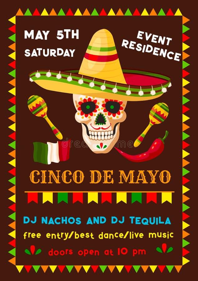 Wektorowa ulotka meksykanina Cinco de Mayo fiesta przyjęcie royalty ilustracja