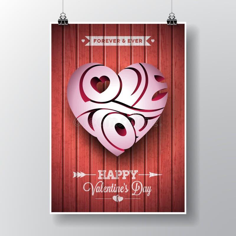 Wektorowa ulotki ilustracja na walentynki ` s dnia temacie z 3d miłością Ty typograficzny hearth projekt na drewnianym tekstury t ilustracja wektor