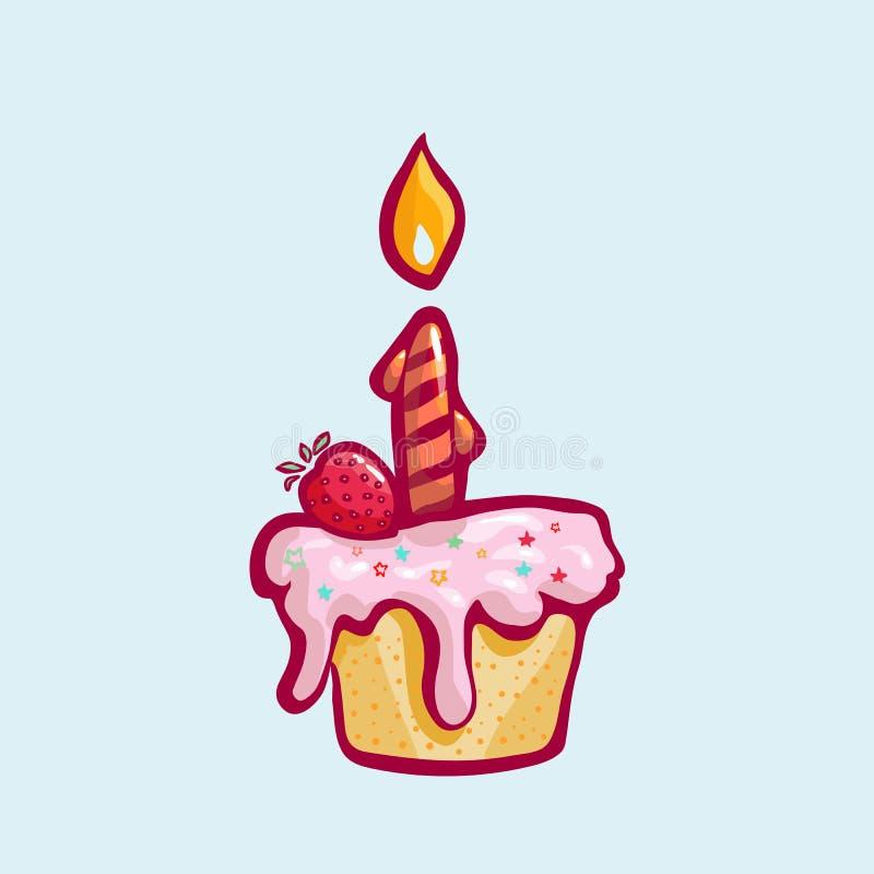 Wektorowa Urodzinowa babeczka z Bławe menchie Batożącą śmietanką i Jeden świeczką ilustracji