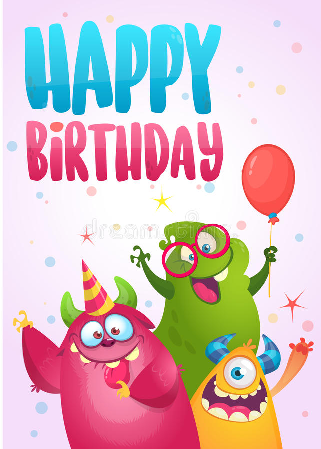 Wektorowa urodzinowa karta z ślicznymi śmiesznymi potworami w kreskówka stylu royalty ilustracja
