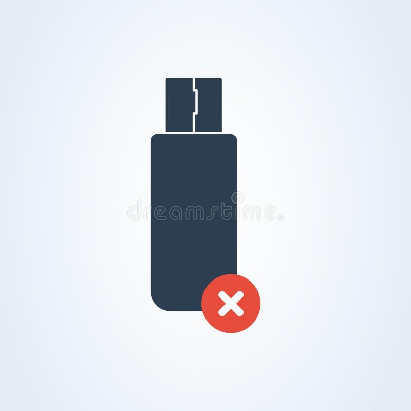 Wektorowa usb typu i Usb pamięci ikona deleatur błyskowa pamięć ostrzegawcza informacja ilustracji