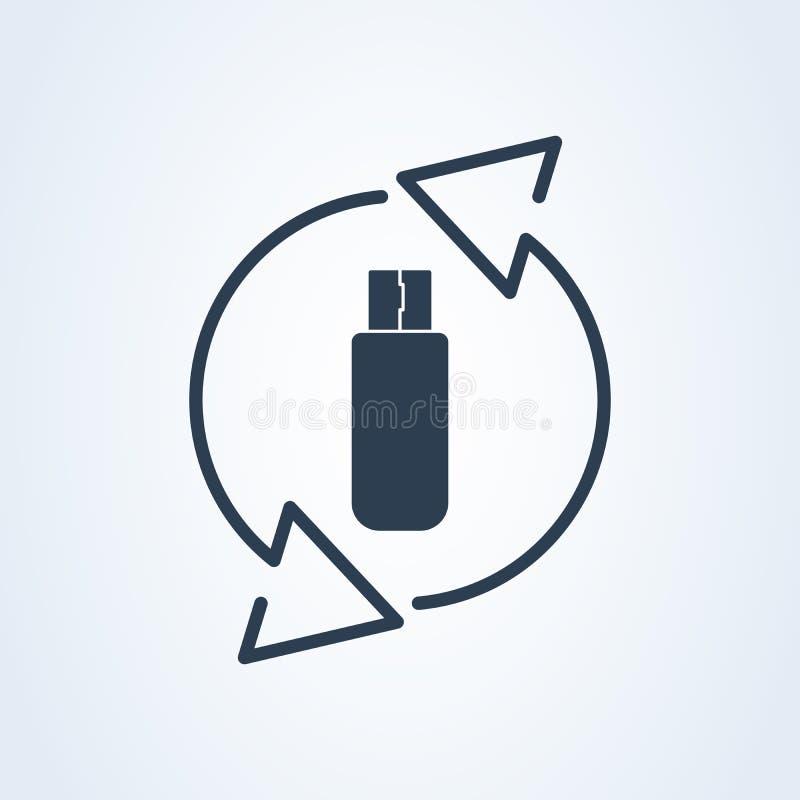 Wektorowa usb typu i Usb pamięci ikona przetwarza błyskowego symbol i reset ilustracji