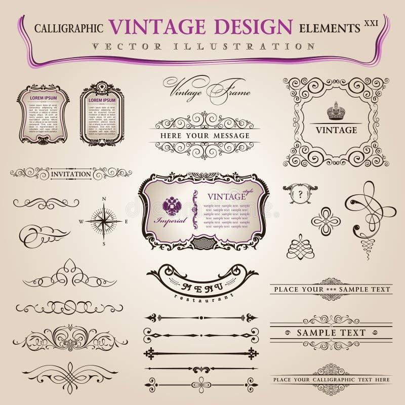 Wektorowa ustalona kaligraficzna projekta elementów dekoracja ilustracja wektor