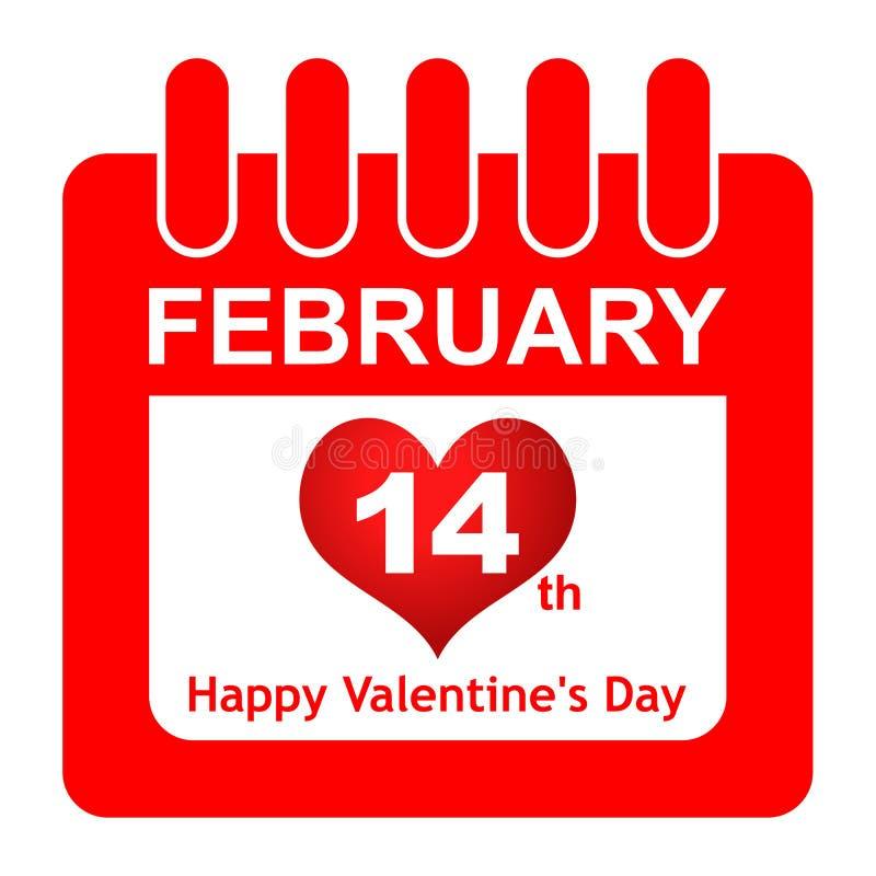Wektorowa valentines dnia kalendarza czerwonego koloru ikona ilustracja wektor