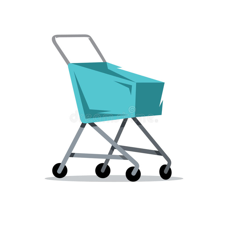 Wektorowa wózek na zakupy kreskówki ilustracja ilustracji