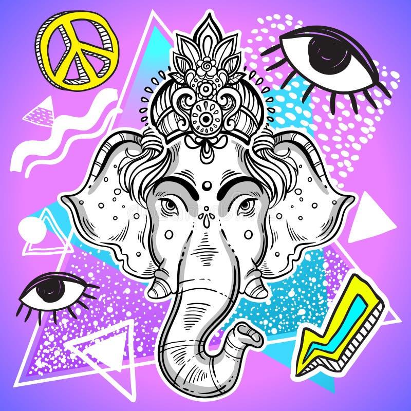Wektorowa władyka Ganesha nad kolorowym rocznika tłem Pięknie szczegółowa retro grafika 80s i 90s styl psychodeliczny ilustracji