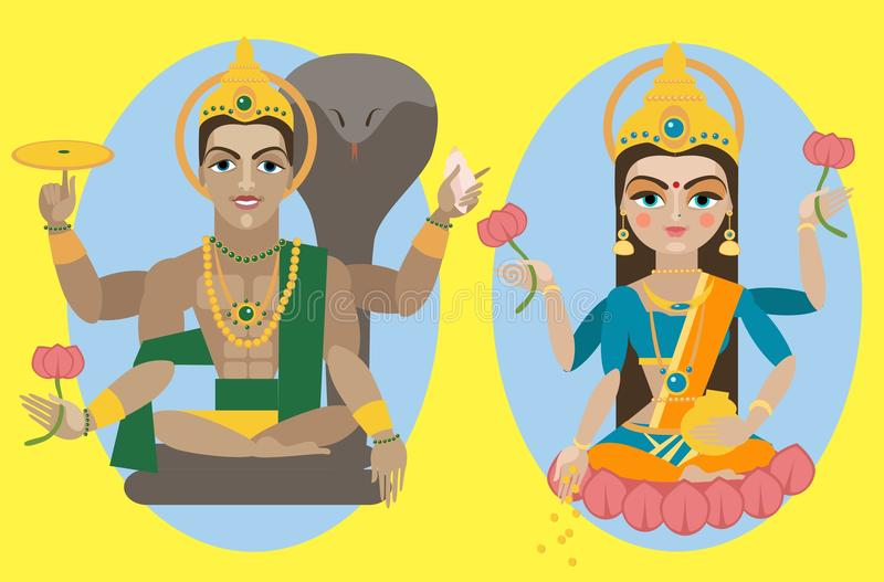Wektorowa władyka Vishnu Lakshmi i Mata royalty ilustracja