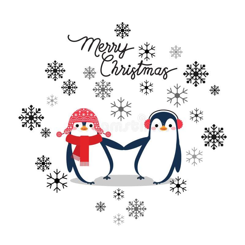 Wektorowa wakacyjna Bożenarodzeniowa kartka z pozdrowieniami z kreskówka pingwinami, śnieżni płatki royalty ilustracja