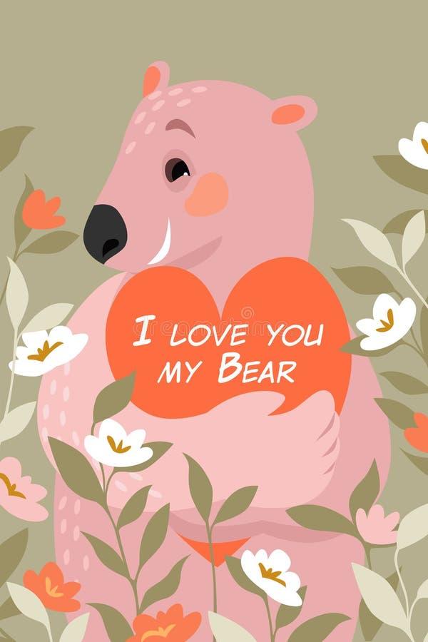 Wektorowa walentynka dnia ilustracja z ślicznym niedźwiedziem z sercem w swój łapach otaczać kwiatami ilustracja wektor