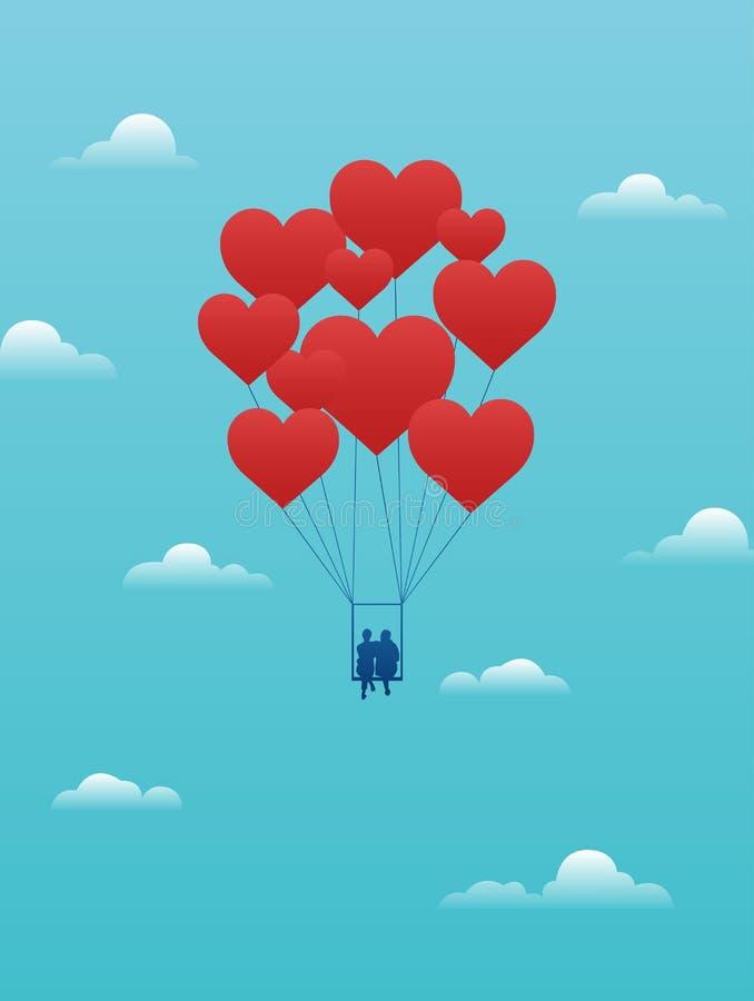 Wektorowa walentynki karta z parą na huśtawce niósł daleko od kierowymi balonami ilustracja wektor