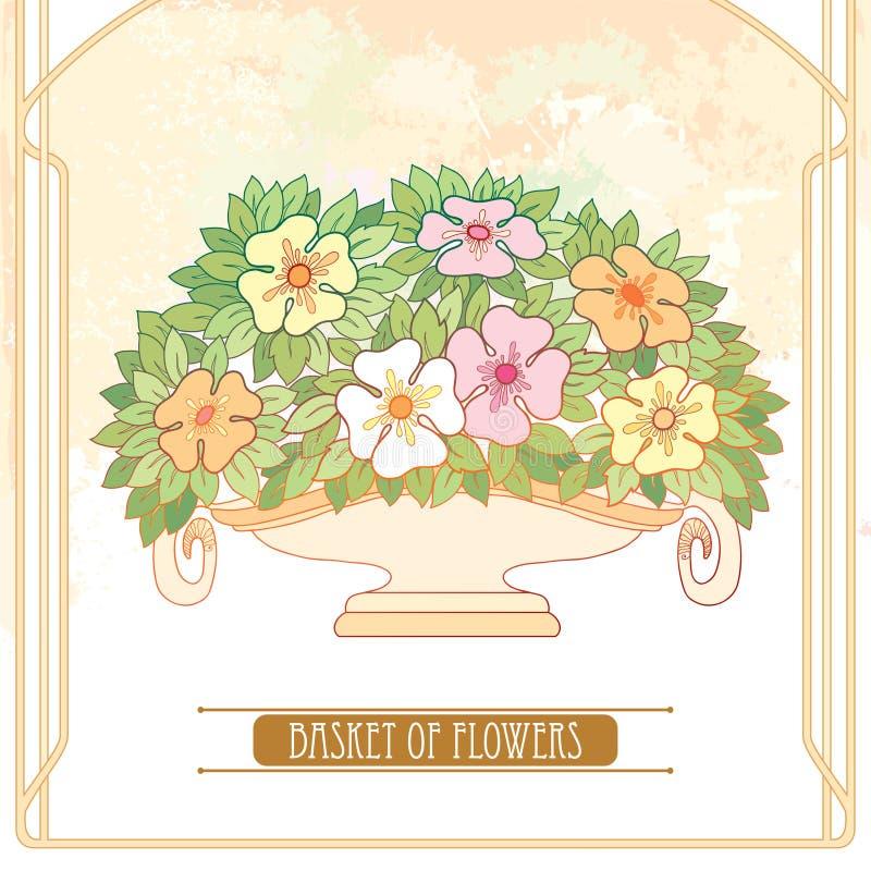 Wektorowa waza z bukietem kwiat i liście w sztuce Nouveau lub Nowożytnym stylu w pastelu na beżowym tle z ramą ilustracji