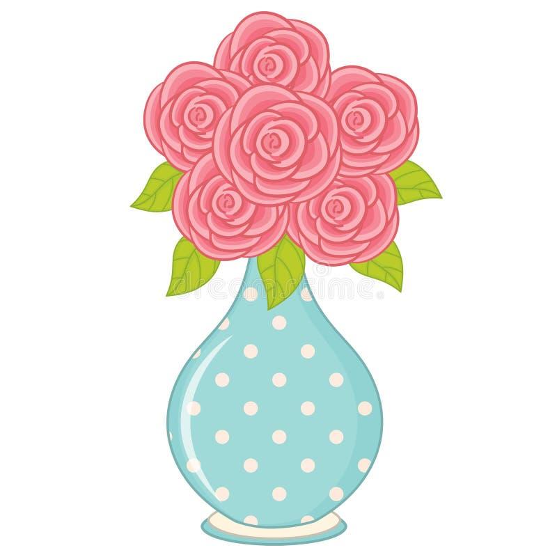 Wektorowa waza z różami łączy ściąganie łatwego redaguje używać waza wektor ilustracji