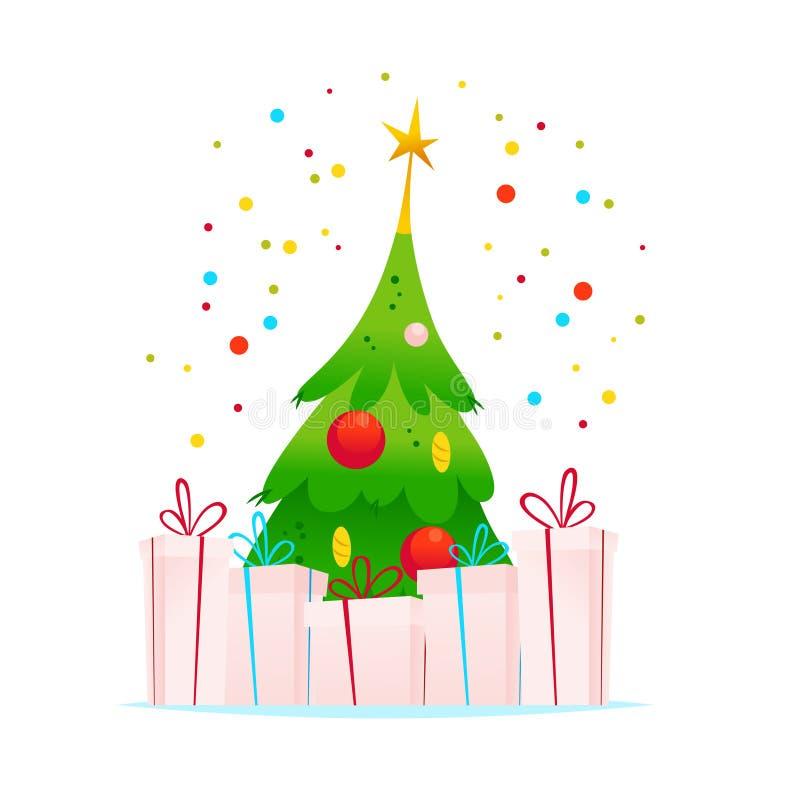 Wektorowa Wesoło bożych narodzeń nowego roku Szczęśliwa ilustracja jedlinowy drzewo, prezentów pudełka i confetti odizolowywający ilustracji