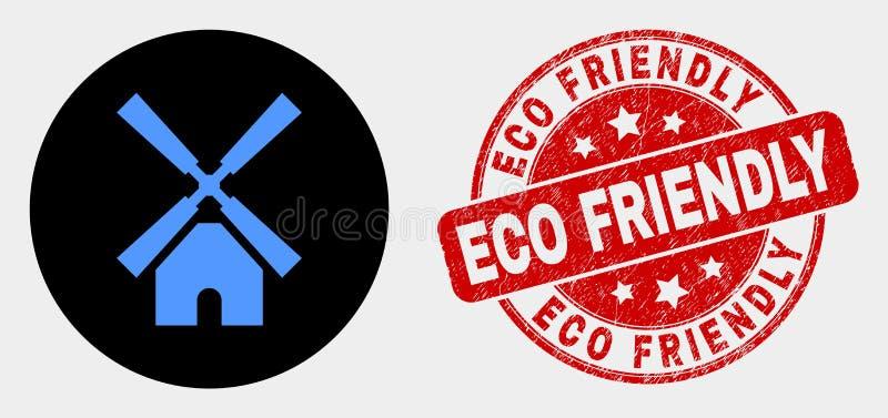 Wektorowa wiatraczek ikona i Porysowany Eco Życzliwy znaczek ilustracja wektor