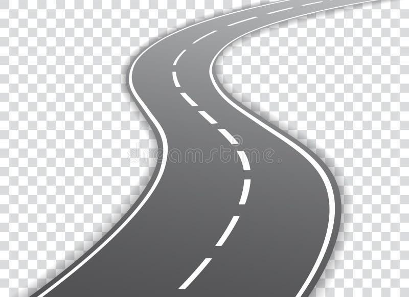 Wektorowa wijąca droga odizolowywająca na przejrzystym tle Wektor e royalty ilustracja