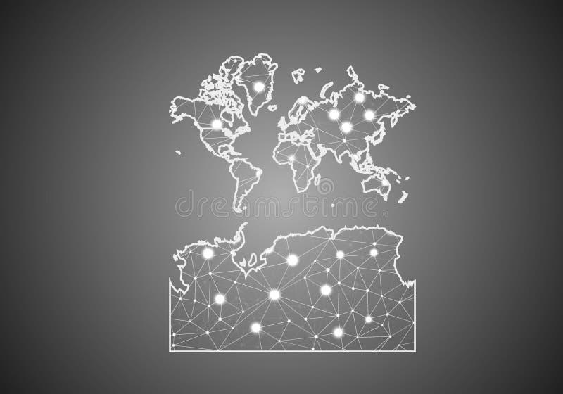 Wektorowa wireframe siatka poligonalna świat Z Antarctica mapą Abstrakcjonistyczna globalna pod??czeniowa struktura Mapa ??cz?ca  royalty ilustracja