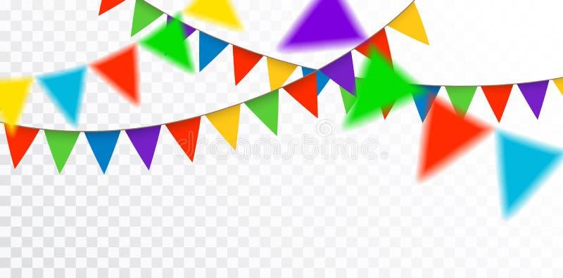 Wektorowa wisząca kolorowa dekoracyjna girlanda dla świętowania, cong royalty ilustracja