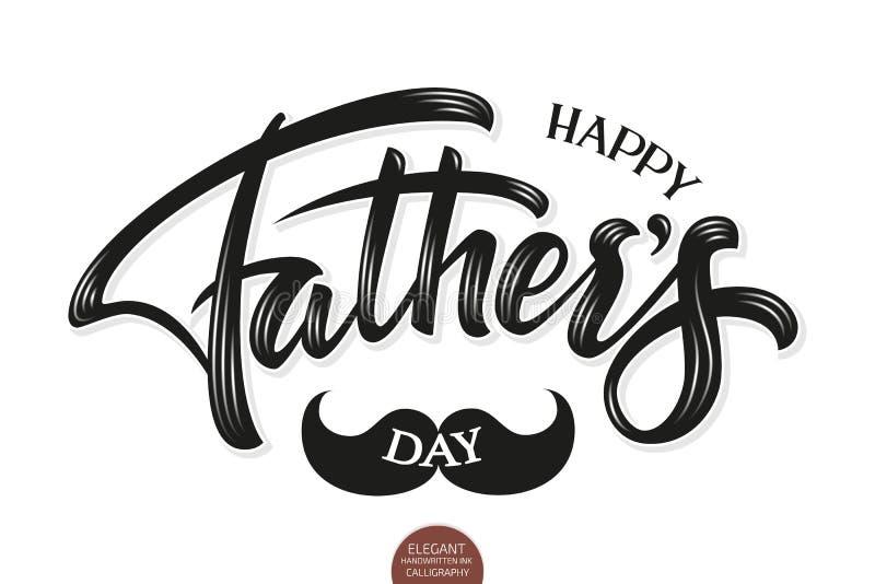 Wektorowa wolumetryczna Szczęśliwa ojca dnia elegancka nowożytna ręcznie pisany kaligrafia Typografia plakat Odizolowywający na b ilustracji