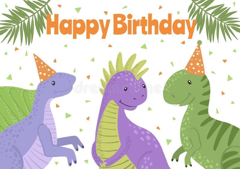 Wektorowa wszystkiego najlepszego z okazji urodzin karta z ślicznymi dinosaurami ilustracja wektor