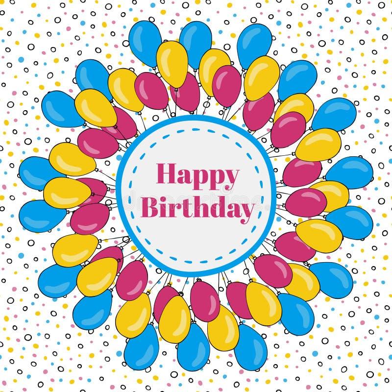 Wektorowa wszystkiego najlepszego z okazji urodzin rama z kolorowymi balonami tło dla wakacyjnych kart ilustracji