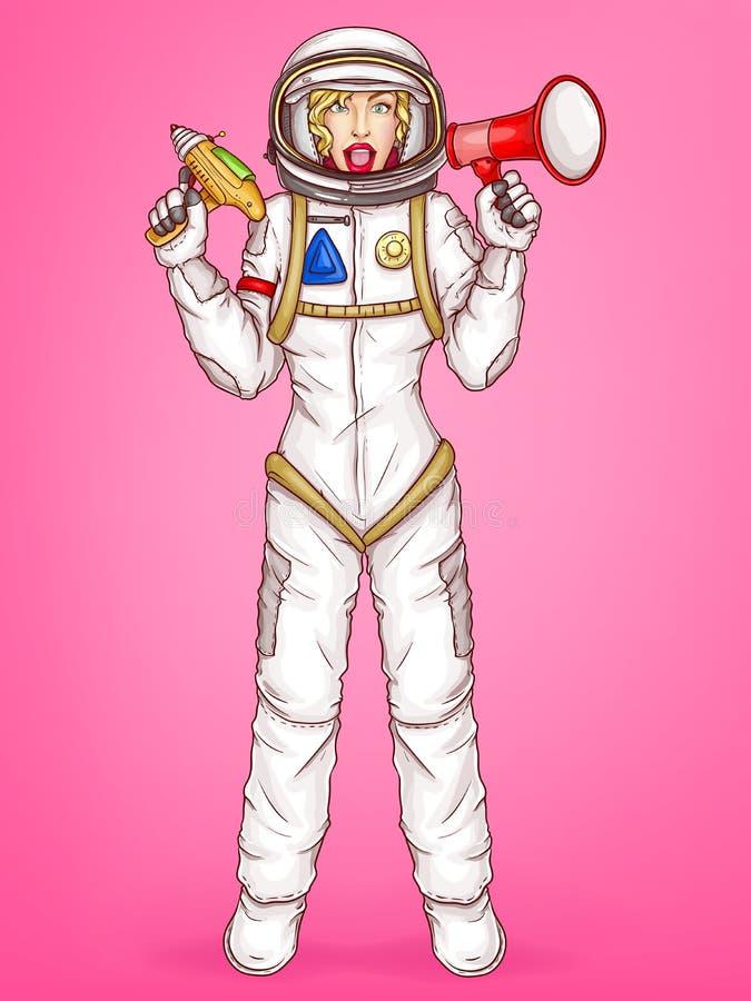 Wektorowa wystrzał sztuki kosmitka trzyma megafon, głośnego royalty ilustracja
