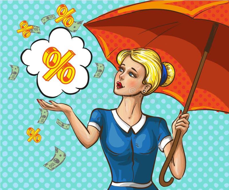 Wektorowa wystrzał sztuki dama z parasolem pod pieniądze deszczem ilustracja wektor