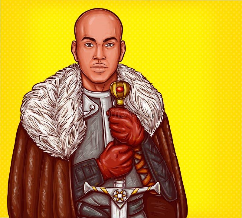 Wektorowa wystrzał sztuki ilustracja średniowieczny rycerz w stalowym opancerzeniu z żelaznym kordzikiem ilustracji