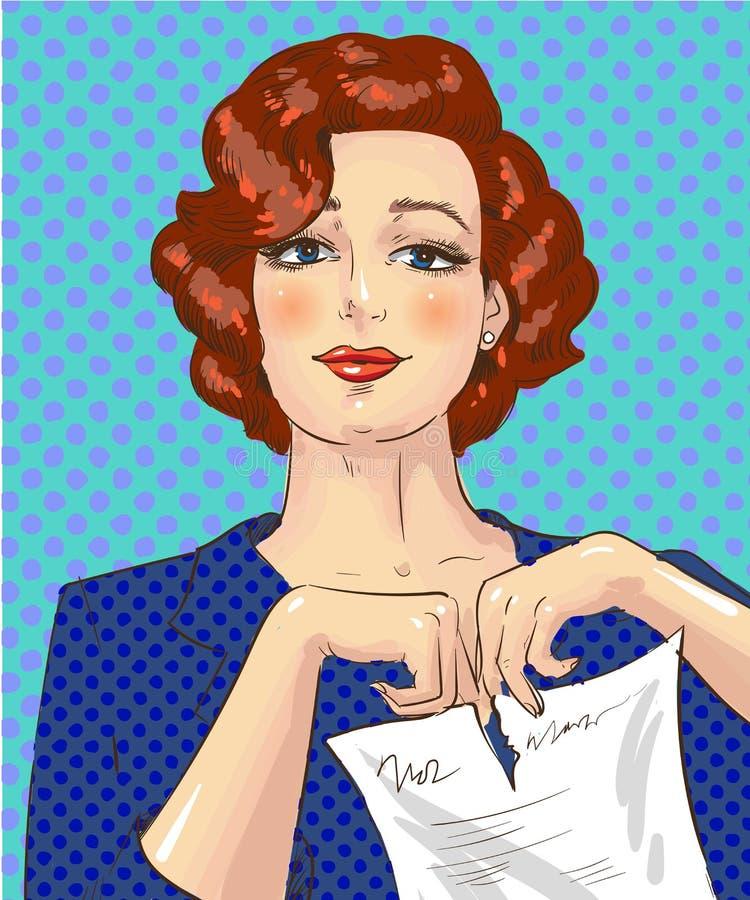 Wektorowa wystrzał sztuki ilustracja drzeje kawałek papieru kobieta ilustracja wektor