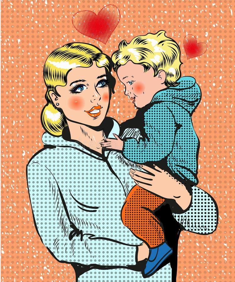 Wektorowa wystrzał sztuki ilustracja trzyma jej dziecka kobieta ilustracja wektor