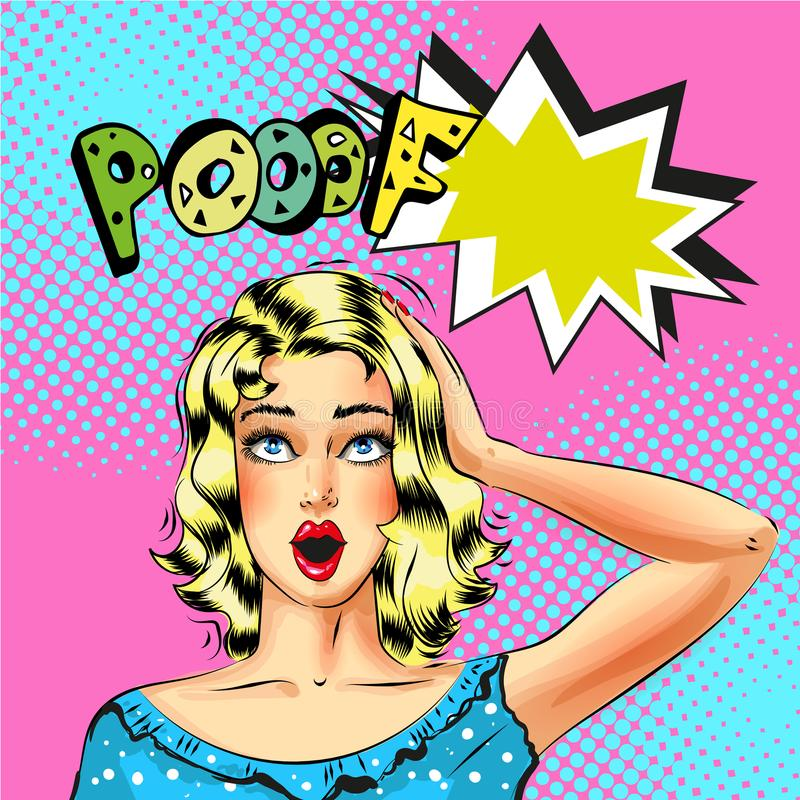 Wektorowa wystrzał sztuki piękna blond kobieta z Pooof mowy bąblem ilustracja wektor