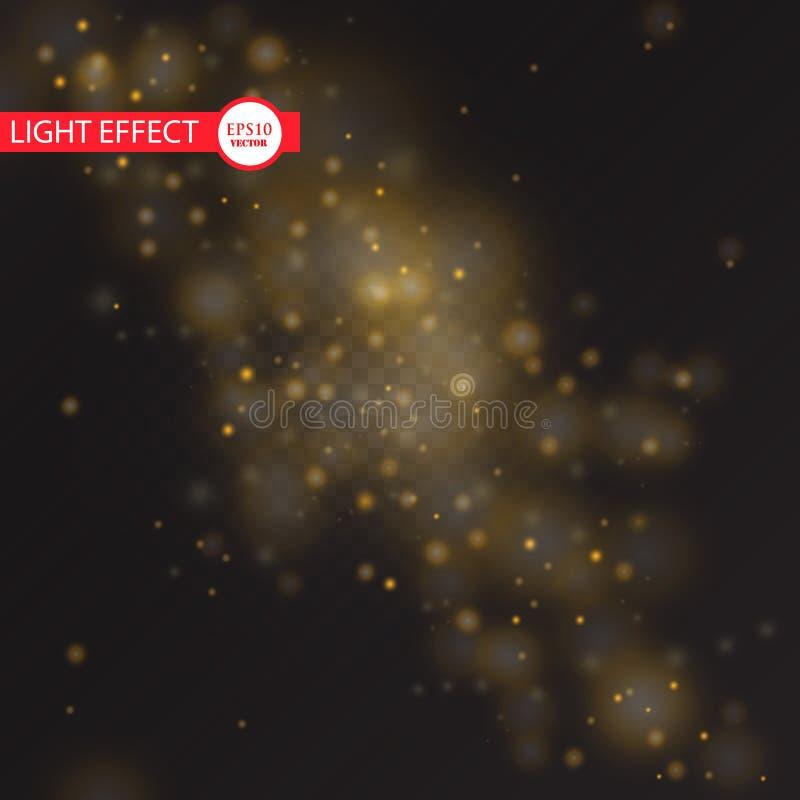 Wektorowa złocista błyskotliwości fala abstrakta ilustracja Złocistego gwiazdowego pyłu śladu iskrzaste cząsteczki odizolowywać n ilustracja wektor