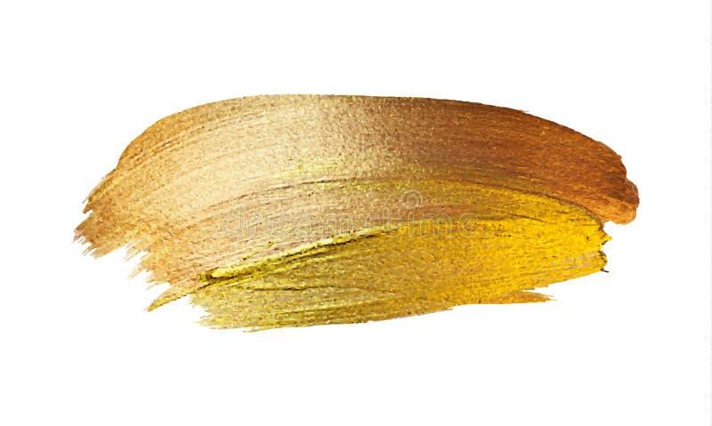 Wektorowa złocista farby uderzenia plama Abstrakcjonistyczna złocista połyskuje textured sztuki ilustracja ilustracja wektor