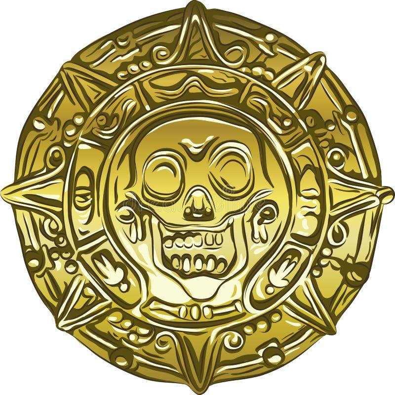 wektorowa Złocista Pieniądze pirata moneta z czaszką ilustracji