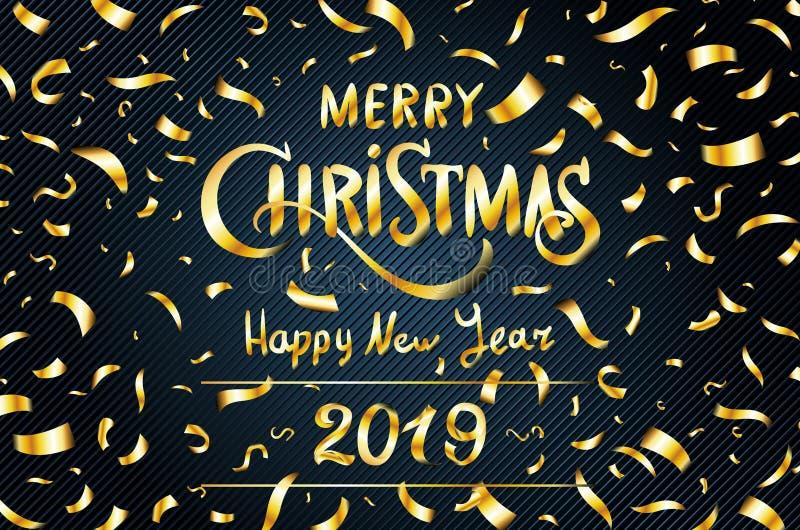 Wektorowa złocista Wesoło bożych narodzeń nowego roku Szczęśliwa 2019 kartka z pozdrowieniami błyskotliwość złociści confetti na  ilustracja wektor
