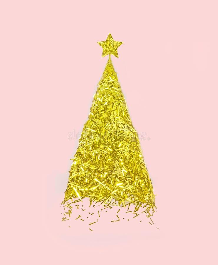Wektorowa złota choinka robić confetti z gwiazdą na pastelowych menchiach tapetuje tło szczęśliwy pojęcie nowy rok Realistyczny i royalty ilustracja