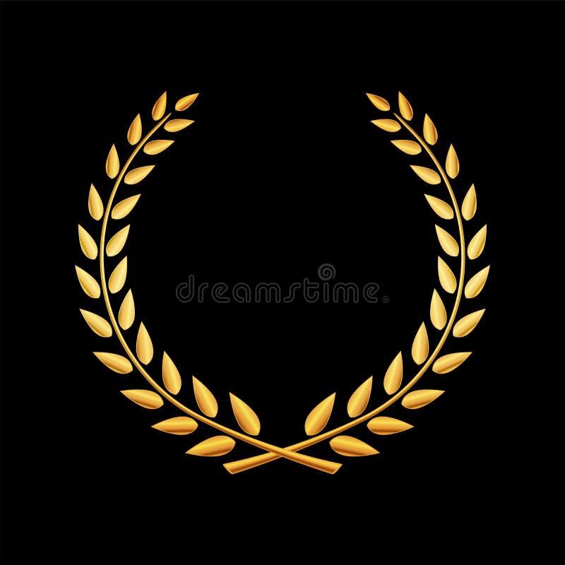 Wektorowa złota laurowa wianek ikona royalty ilustracja