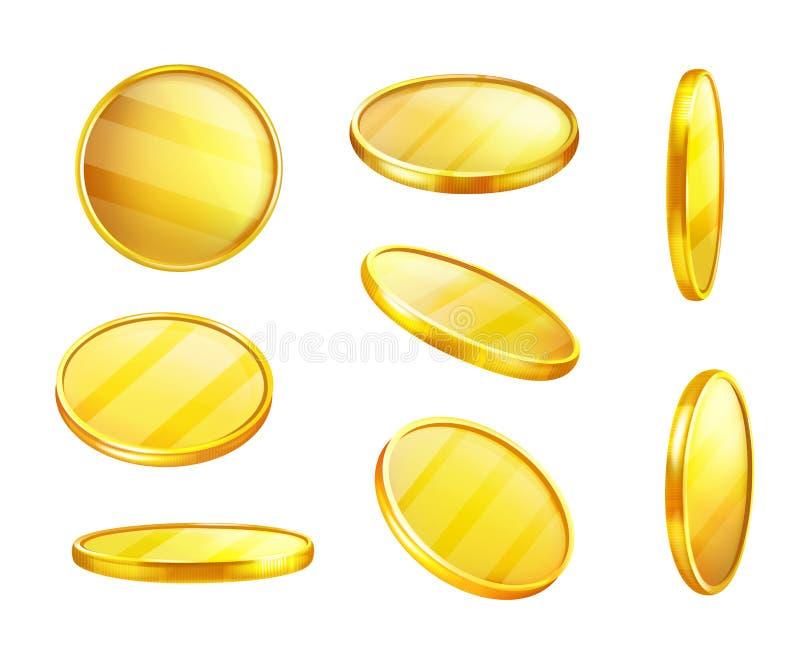Wektorowa złota moneta w różnych pozycjach, pieniądze royalty ilustracja